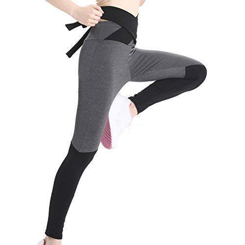 URIBAKY - Leggings de deporte para mujer, cintura alta de yoga con lazo y costura contrastada, con nudo y mariposa y costura contrastada. Negro M