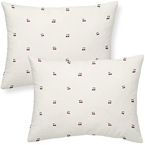 Makemake Organics Organic Toddler Pillowcase (Set of 2) GOTS Certified Organic Cotton Pillowcase 13x18 Travel Pillows Neutral (Cherry, 14x19)