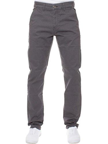 Enzo Herren Designer Mode Chino Stretch Hautenge Jeans Hose alle Größen - grau, 32W x 34L