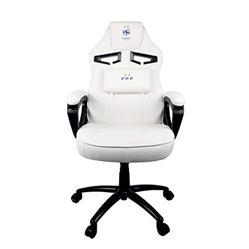 Konix FFF Chaise Gaming en Cuir Confortable/Ergonomique avec Coussin Inclinable à 15° Blanc