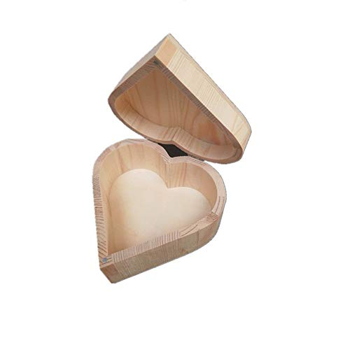 YuYzHanG Huile Essentielle Boîte de Rangement Boîte en Bois en Forme De Coeur Huiles Essentielles Cas Parfait Boîte De Rangement À La Main Huile Essentielle Boîte (Color : Natural, Size : 13X13X7CM)