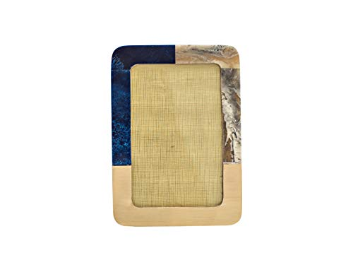 5 Elements Tisch Bilderrahmen 4x6 / 10x15, Wohnkultur, Büro- und Raumdekoration, Fotorahmen für Schreibtisch und Wanddisplay, Einweihungsgeschenk.Handgefertigt mit blauem Harz.OCEAN-Saphir