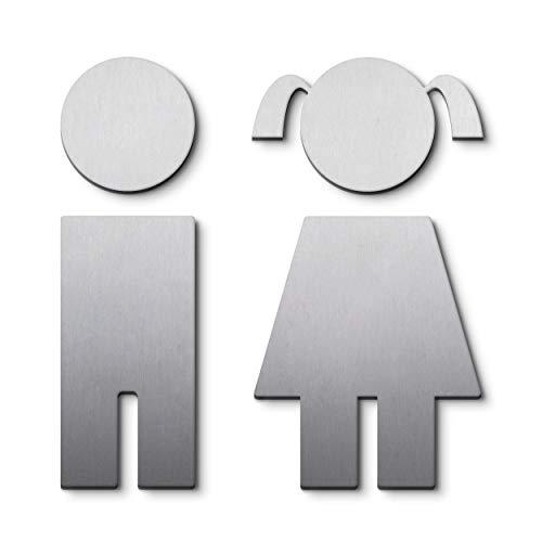 PHOS Edelstahl Design, P0701, WC Piktogramme Jungen und Mädchen, 9,5 cm, Edelstahl gebürstet, selbstklebend, Toilettensymbole, Türschild Mann Frau, WC Schild Aufkleber, Kloschilder, Toilettenschilder