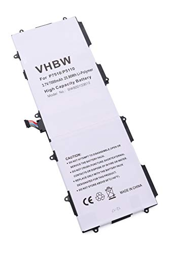 vhbw batería Compatible con Samsung Galaxy Tab 10.1 GT-P7500, 2 10.1 GT-P5100, 2 10.1 GT-P5110, GT-7511 Tablet (7000mAh, 3,7V, polímero de Litio)