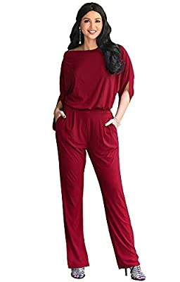 KOH KOH Plus Size Womens Short Sleeve Sexy Formal Cocktail Casual Cute Long Pants One Piece Fall Pockets Dressy Jumpsuit Romper Long Leg Pant Suit Suits Outfit Playsuit, Crimson Dark Red 2XL 18-20
