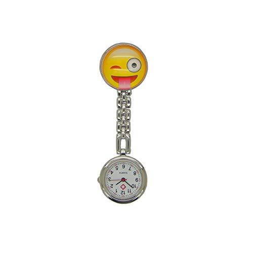 WTFYSYN Elegante Analogico Cuarzo Reloj de Bolsillo,Reloj de Bolsillo de Cristal para Enfermera, Tarjeta Redonda Lindo Emoticon Reloj de Bolsillo-4