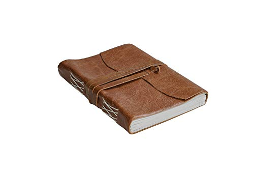 Leather Journal Rustic Handmade Vintage Leather Bound Journals + Pen Holder for Men Women - Leather Craft Unlined Paper 240 Pages, Diary Pocket Notebook Diary To Write In (TAN, 8 inches X 6 inches)