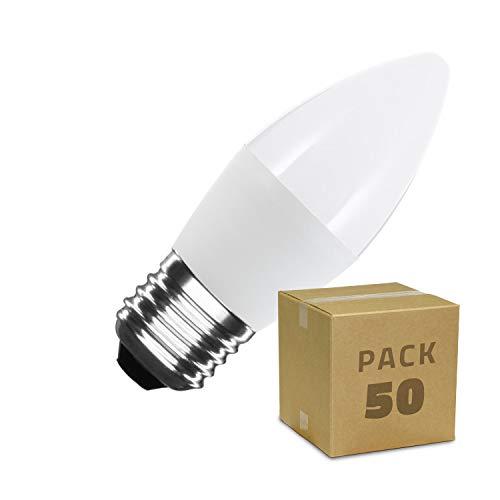LEDKIA LIGHTING Caja de 50 Bombillas LED E27 Casquillo Gordo C37 5W Blanco Neutro