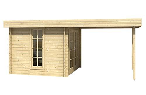 Alpholz Gartenhaus Cuxhaven-28 D aus Massiv-holz | Gerätehaus mit 28 mm Wandstärke | Garten Holzhaus inklusive Montagematerial | Geräteschuppen Größe: 250 x 500 cm | Flachdach