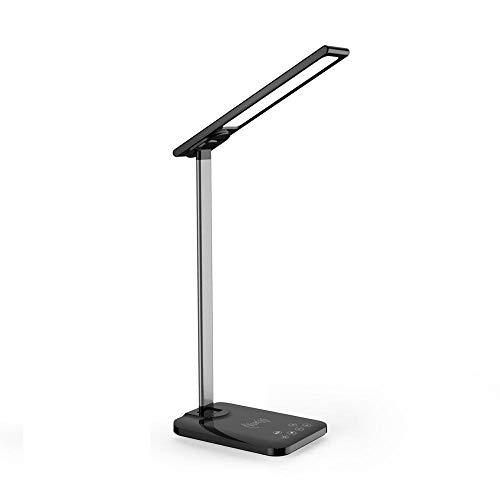 Lámpara de escritorio LED multifunción con cargador inalámbrico Lámpara de lectura de mesa regulable con control sensible al tacto de 3 colores para oficina