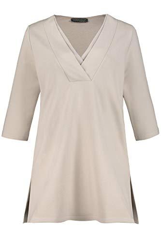 Ulla Popken Damen große Größen Longshirt, Punto-di-Roma, Doppelblende, 3/4-Ärmel, Selection Creme 54+ 749317 24-54+