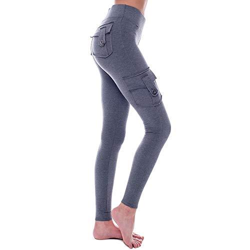 Dihope, Cargobroek, slim fit, dames, hoge taille, meerdere zakken, werkbroek, militair stretch, elastisch