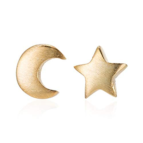 yichahu Preciosos pendientes de tuerca de acero inoxidable con diseño de luna y estrella coreana para mujer