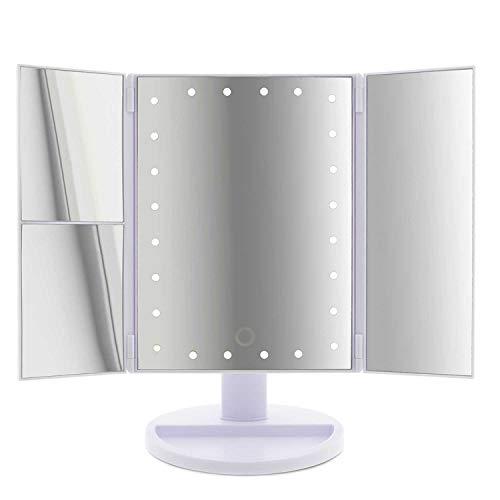 T24 LED Kosmetikspiegel 2- und 3-Fach Vergrößerung 180° drehbar Einstellbare Helligkeit ON/Off Schalter Make up Spiegel