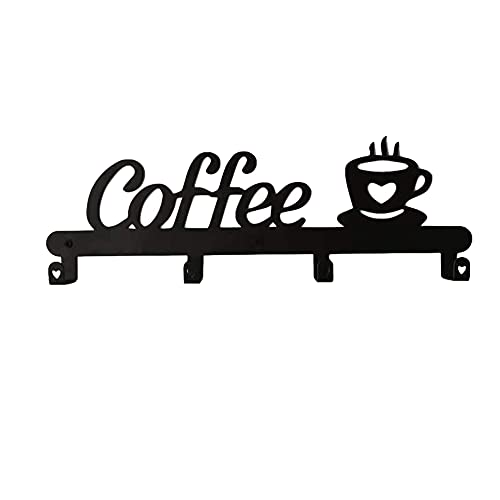 Kaxofang Soporte para Taza de Café Montado en la Pared (4 Ganchos), Letrero de DecoracióN de Cocina o Cafetería Colgadores de Tazas de Café de ExhibicióN y Organizador