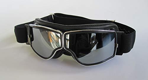 Aviator Motorradbrille T2 Chrom, Leder schwarz, Gläser silber verspiegelt
