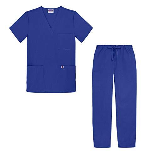 Sivvan Unisex Classic Scrub Set V-Neck Top/Drawstring Pants - S8400 - Royal Blue - M