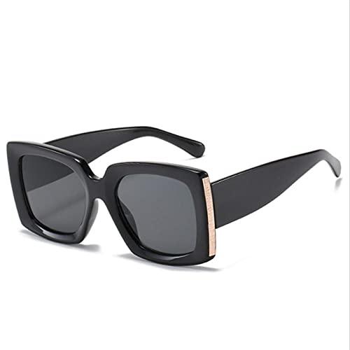 DLSM Gafas de Sol de Gran tamaño Feedale Leggs de Ancho Vintage Gafas de Sol cuadradas de Moda Camuflaje de Leopardo Negro UV400-Negro Negro