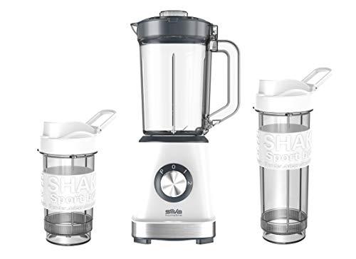 Silva Homeline SM 2500 23.000 U/min, inkl. Sport-Trinkflaschen 400 ml + 570 ml, BPA-Free Smoothie Maker, 500 W, Freier Kunststoff, Edelstahl, 1.2 liters, weiß/anthranzit