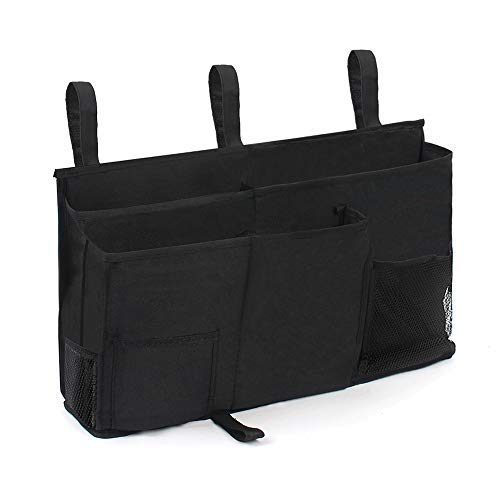Sunnyac Bedside Caddy Cube Storage Organizer with 8 Pockets Durable Oxford Hanging Bag Pouch Holder for Books Phones Tablets Magazines Best for Dorm Room Bunk Bed Hospital Bed Rail Black