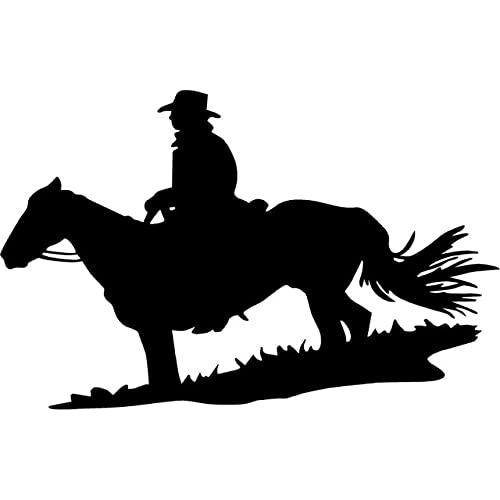 A/X 15,3 cm * 9,7 cm Vaquero Sentado en el Caballo Hierba Silla Moda Vinilo calcomanía Coche Pegatina Negro/Plata S6-2781Negro