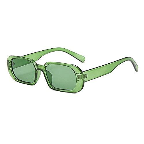 BOJOD Trendy Rectangle Sunglasses For Women Men Retro 90s Oval retangular sunglasses Black Shades Green