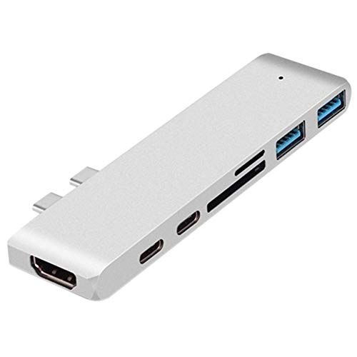 USB C 3.0 Hub 4K HDMI, PD, Type-C Charging 2-In-1, TF/SD, 2 USB3.0 7-In-1 Multi-Function Adapter Space Aluminum Dongle, for Macbook Air/Pro (Silver)