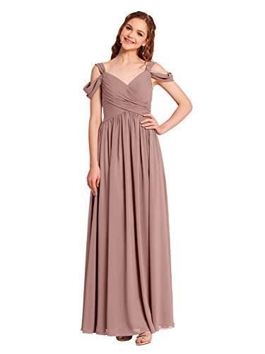 Alicepub Cold Shoulder Chiffon Bridesmaid Dress Long Maxi Formal Dresses for Women Party, Dusty Rose, US16