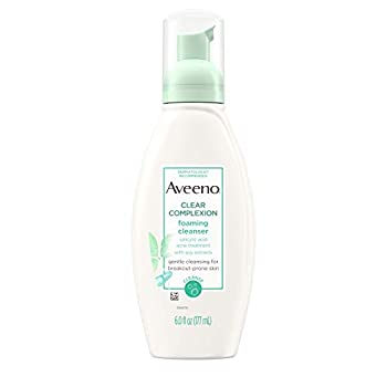 Aveeno Clear Complexion Foaming Oil-Free Facial Cleanser with Salicylic Acid for Breakout Prone Skin Face Wash with Soy Extracts Hypoallergenic and Non-Comedogenic 6 fl oz  Pack of 3