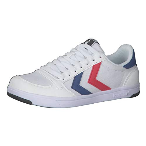 hummel Unisex-Adult Stadil Light Canvas Sneaker, White/Blue/RED,43 EU