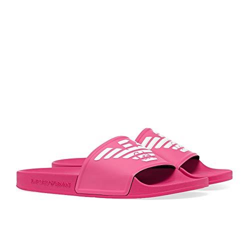 Emporio Armani Metallic PU Womens Sandals 36 EU Shocking Pink White