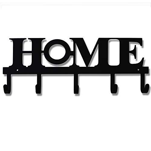 Key Holder Metal Wall Mounted Keys Hook Home Decor Keys Rustic Western Cast Iron Key Hanger Decorative Key Organizer Rack with 5 Hooks for Front Door Kitchen Garage Store House WorkVehicle Keys