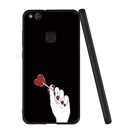 Yoedge Cover Huawei P10 Lite, Sottile Antiurto Custodia Nero Silicone TPU con Disegni Pattern Ultra Slim 360 Protective Bumper Case per Apple Huawei P10 Lite, Lecca-Lecca