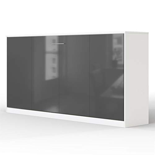 SMARTBett Basic Schrankbett (Weiss Anthrazit Glanz, 90x200 cm Horizontal)