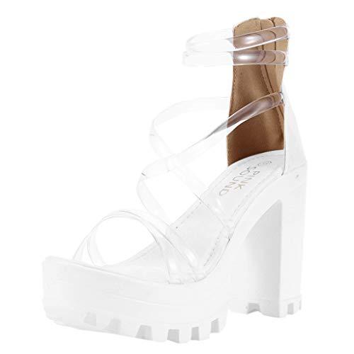 Damen Open Toe Sandalen, Frauen High Heel Transparenter ReißVerschluss wasserdichte Plattform High Heels Sandalen SchnüRschuhe Stiefeletten Damenschuhe