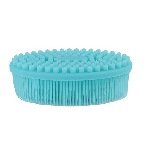 Siliconen babyparty borstel, zachte massagepunt design massageborstel, effectief de huid reinigen, de huid gezond en mooi houden, lichaamsborstel kan voor het wassen van haren, badkamers en gezicht wassen. groen