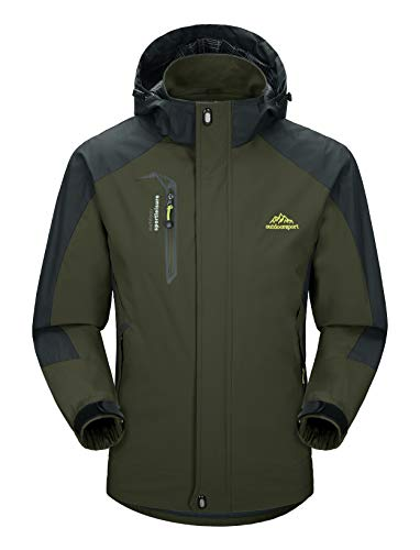 Lightweight Jackets Mens Waterproof Mountian Jacket Hiking Climbing Jackets for Men Tactical Hooded Jackets Mountain Hunting Jackets with Detachable Cap , Dark Green, L