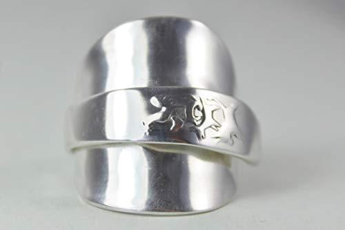800er Silber Besteck Schmuck Ring, ca. 63 (20) Ring aus Silberbesteck mit Bremer Stadtmusikanten