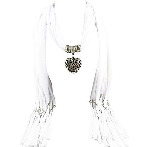 BaZhaHei Damen Schals Umschlagtücher, Halstücher Mode Frauen Anhänger Schal mit Quaste Strass Schmuck Schals Eule Anhänger Zubehör Halskette Schal Legierung Quaste Schal (2-Weiß, freie Größe)
