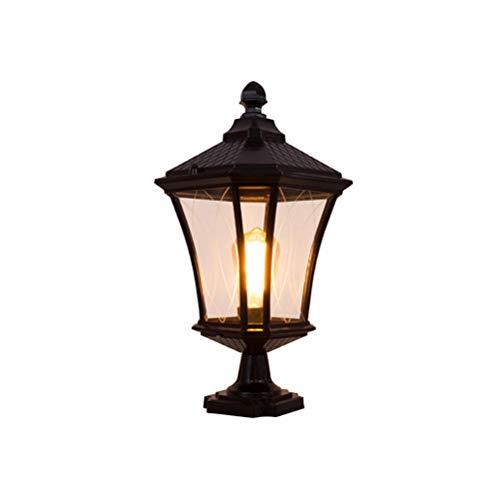 Rishx Lampe de colonne de verre externe professionnelle européenne extérieure étanche à la lumière de jardin Lampe de colonne extérieure de lanterne ancienne étanche à la pluie de pilier en aluminium