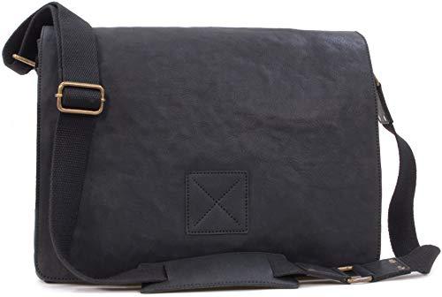 ASHWOOD - Leder - Umhängetasche/Schultertasche/Arbeitstasche/für Laptop geeignete Tasche Pedro - Schwarz