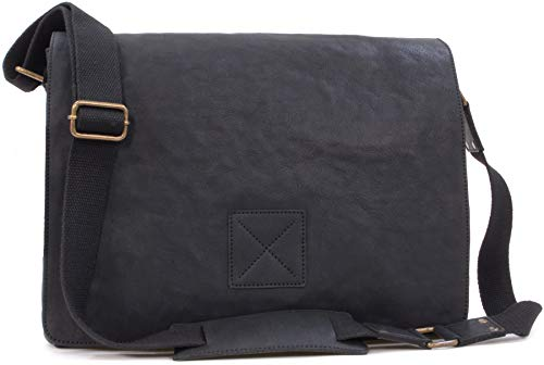 Ashwood Messenger Bag - Cross Body/Shoulder/Laptop Bag - Business Office Work Bag - Genuine Leather - Pedro - Black