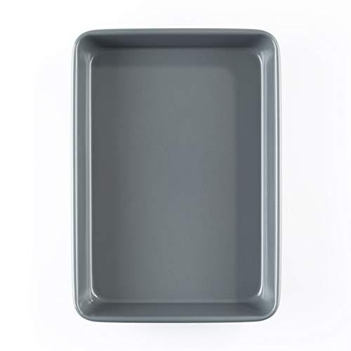 Prochef Teflon Non-Stick Premium Tray Tin-Length 35.1cm x Width 25.4cm-High Silicone Coating for Chicken/Turkey Roasts/Beef/Pork Joints-Silver, Black, Medium