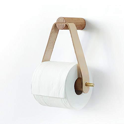 Hvauty Kreative Holz Toilettenpapierhalter Stehen Wand Lagerung Papierhandtuchspender Hängen Kupfer Metall Toilettenpapierhalter Stehen for Toilette Bad-Accessoires