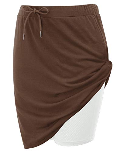 JACK SMITH Stretchy Sport Skirts for Women Knee Length Elastic Waistband with Pockets(S,Coffee)