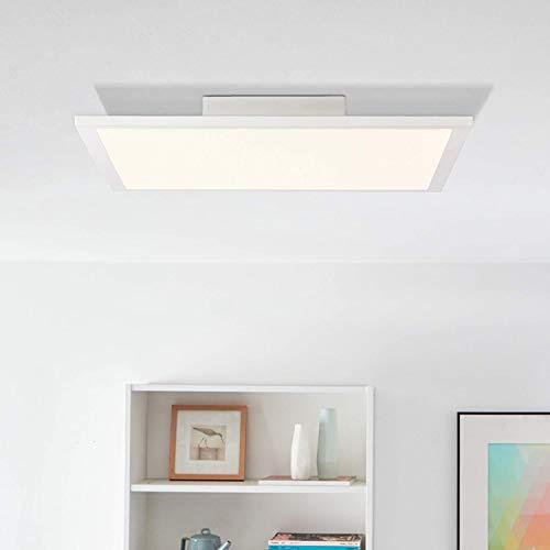 Panel LED de techo, luz blanca cálida, 40 x 40 cm, 24 W, 2400 lúmenes, 2700 Kelvin; metal/plástico, color blanco