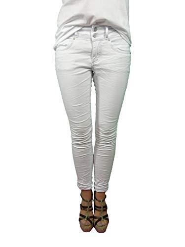 Buena Vista Tummyless Stretch Jeans | Schlankmachende Shaping Denim Hose | Figurformend für alle Größen | Lange Jeanshose weiß L