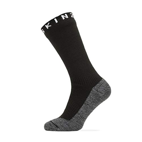 SealSkinz Unisex Waterproof Warm Weather Soft Touch Mid Length Sock, Black / Grey Marl / White, L