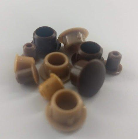 10 Stück Bohrlochabdeckung Stopfen Abdeckkappe Abdeckstopfen aus Kunststoff für Holz Bohrloch Möbel 10 mm Bohrung 13 mm Aussenmaß 10/13 verschiedene Farben - 730 Hellbraun Farb Nr.55