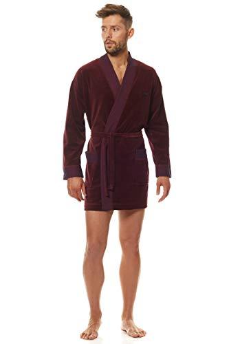 L&L - 9101 Albornoz de lujo para Hombres, Extremadamente Corto y Suave Bata de Baño. Bata de Casa para Hombres. (2090_Burdeos, XL)